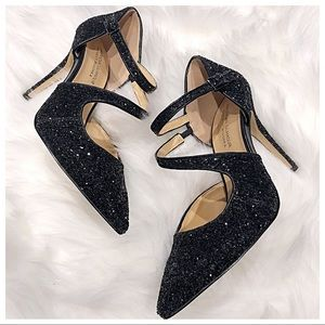 ✨American Glamour Black Sequin Strap Pump Heels